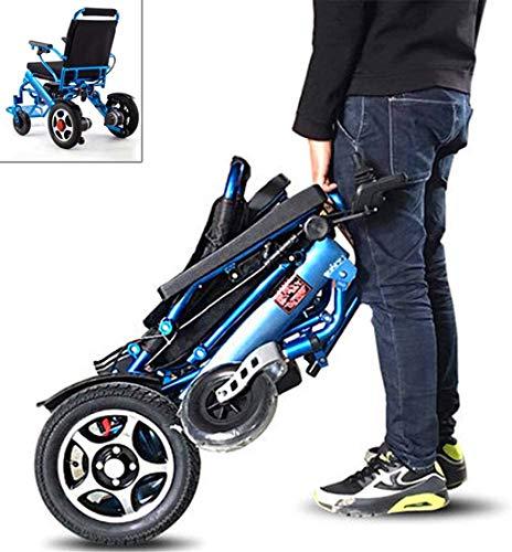 """RDJM Leichte Faltbare Elektro-Rollstuhl Powerchairs - elektrische motorisierte Rollstuhl mit Dual """"250W"""" Motoren, All Terrain, Einzelbatterie-bewegliche elektrische Rollstühle, Blau"""