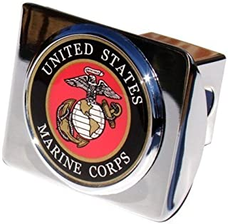 MVP Accessories US Marine Corps Seal Chrome Metal Trailer Hitch Cover with Metal Logo
