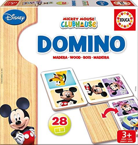 Educa Mickey y Minnie Domino de Madera, 28 Piezas, Multicolor (16037)