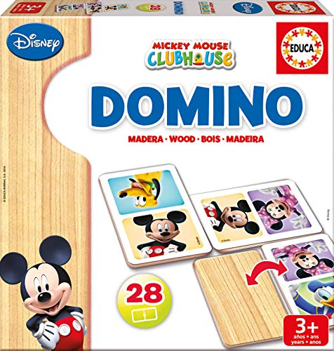 Educa Mickey y Minnie Domino de Madera, 28 Piezas, Multicolor (16037)
