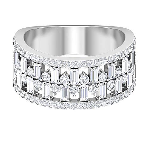 Anillo de diamante HI-SI de 2,12 quilates, anillo de diamante Baguette, anillo apilable, banda de media eternidad, anillo de oro de 14 quilates blanco