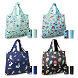 ASHARE Reusable Grocery Shopping Bags with Tubular Handle Extra Large Grocery Tote Bag Eco Friendly Machine Washable Rip Stop 4 Pack