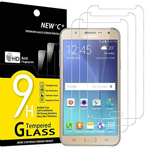 NEW'C 3 Unidades, Protector de Pantalla para Samsung Galaxy J7 2015, Antiarañazos, Antihuellas, Sin Burbujas, Dureza 9H, 0.33 mm Ultra Transparente, Vidrio Templado Ultra Resistente