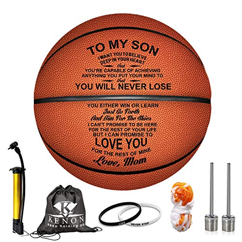 Lowest Price! Kenon Engraved 29.5 Inch Basketball for Son - Personalized Basketball Indoor/Outdoor G...