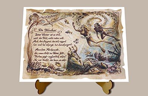 Geschenk Taucher Tauchen Präsent Zeichnung Color 20 x 15 cm mit Aufsteller
