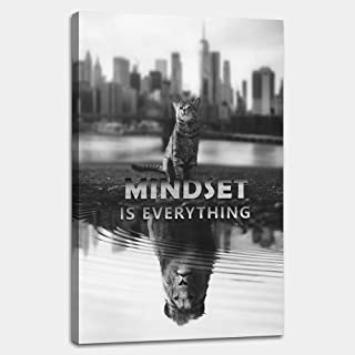 AMEMNY Black and White Wall Art Motivational Posters Inspirational Entrepreneur Quotes Canvas Painting Mindset is Everything Pictures Inspiring Framed Prints Artwork Office Living Room Home Decor