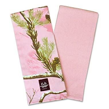 DII 100% Cotton, Machine Washable, RealTree Camo Kitchen Dishtowel Gift Set, Includes 2 Different Designed Dishtowels, 18 x 28 , Pink