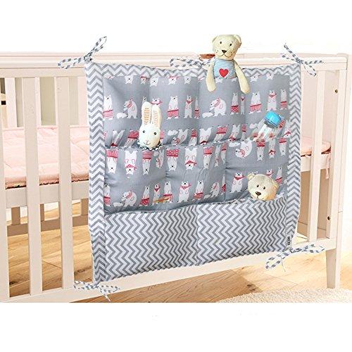 Bonita bolsa organizadora de algodón para cuarto de bebé, bolsa de almacenamiento para colgar en la mesita de noche, la cuna o el cambiador multicolor oso