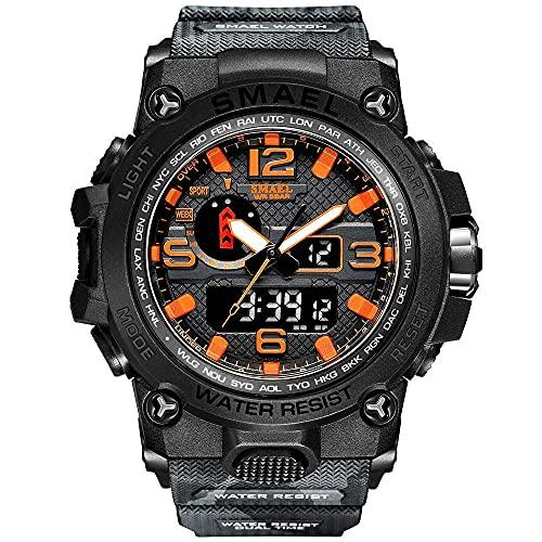 Relojes de pulsera de 52 mm para hombre, reloj de camuflaje deportivo, impermeable, doble pantalla, reloj de cuarzo fresco, importado de Japón, relojes para hombres (color negro y naranja)
