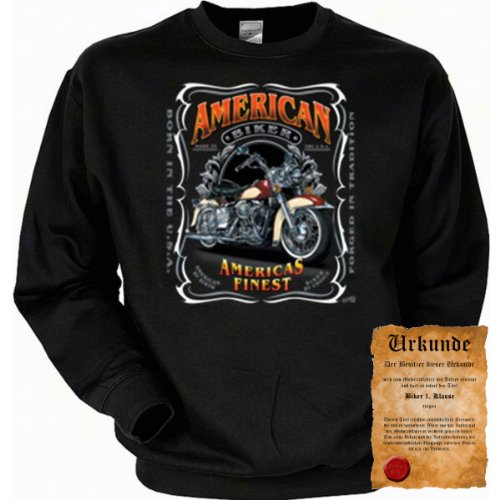 trag-das Cooles Biker Sweatshirt + Ukunde - Motiv American Bikers - Sweater Herren Motorrad Pulli Geschenk Weihnachten Geburtstag