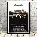 Pozino Cuadro de Lienzo Impresiones de Carteles Blues Brothers Vintage Movie Serie de TV Pintura clásica en Lienzo 60x90cm