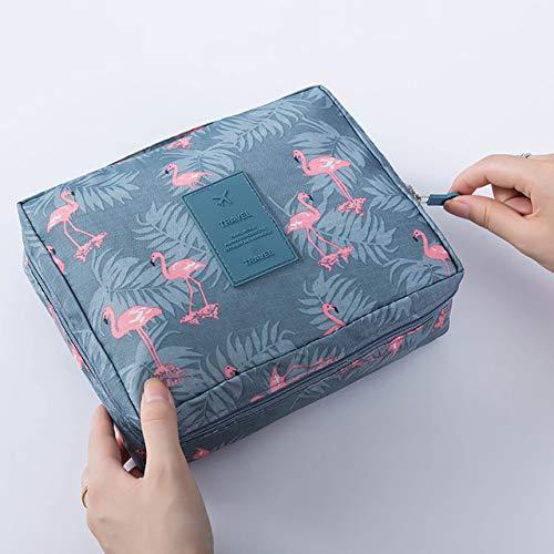 Sac de rangement pour femme Sac à cosmétiques mignon Maquillage Brosse Cosmétique Sac à main Sac à cosmétiques pour hommes Voyage 24 * 18CM Flamant gris