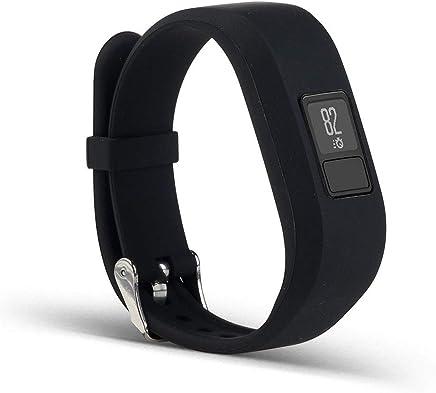 Fashion Soft Silicone Wristbands Strap Bracelet Replacement Watch Band for Garmin Vivofit 3 Smart Watch Activity Tracker for Kids Men Women (Black)