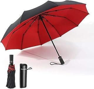 INCOLENI 折りたたみ傘 自動開閉式 10骨 二重構造 晴雨兼用 折り畳み傘 Teflon加工 耐風撥水 210T高強度 防災梅雨対策 メンズ&レディース日傘 ビッグサイズ 傘ケース付き(レッド)