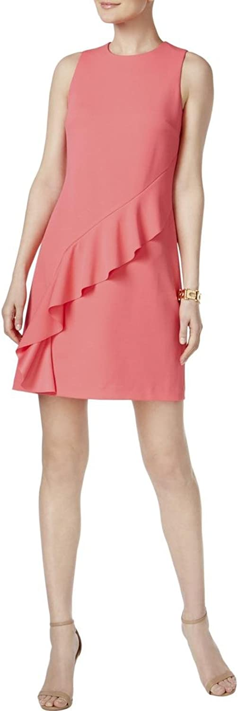 Ivanka Trump Womens Ruffled Sleeveless Cocktail Dress Pink 10