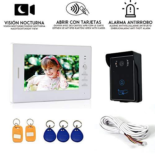 """Nudito Kit Videoportero universal, Interfono Intercomunicador (1 Monitor TFT LCD de 7"""", 1 Cámara infrarroja exterior con Visión Nocturna, Abrir la Puerta con Tarjetas RFID). Instrucciones en español"""