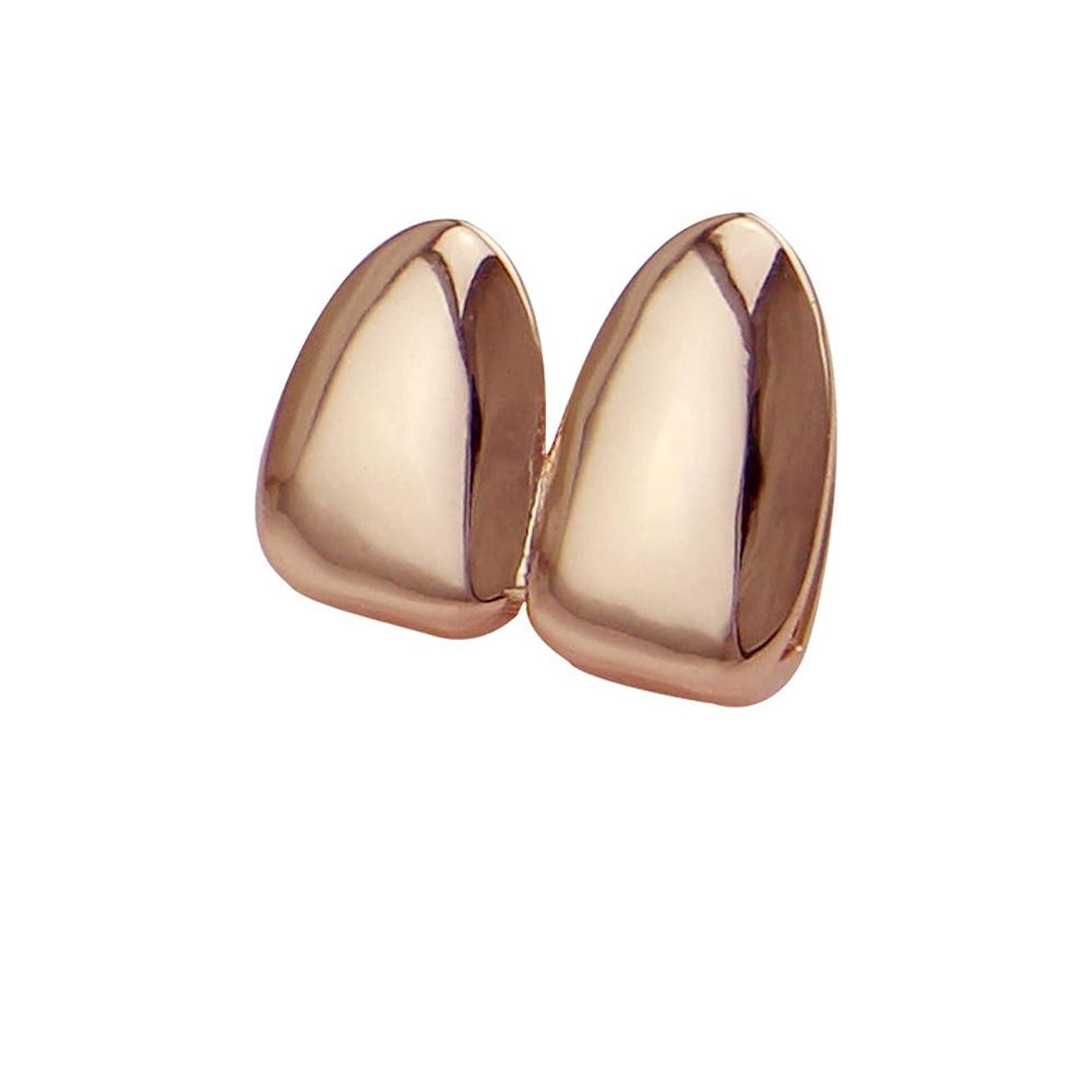 開いた振動する花輪YHDD 光沢のある2つの歯ヒップホップ歯の上と下の歯の吸血鬼の牙のグリルHolleweenギフトのための に適合 (色 : ローズゴールド)