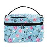 Bolsa de maquillaje grande con diseño de abejas y flores de dibujos animados, bolsa de maquillaje, organizador con cremallera, para mujeres y niñas