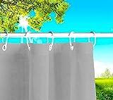 Byour3® Toldos exteriores con ojales en la parte de Arriba y los ganchos de metal Tejido antimoho repelente al agua Toldo de tela de algodón resinado para terrazas Gazebos Balcon (Grafito, 145xH280cm)