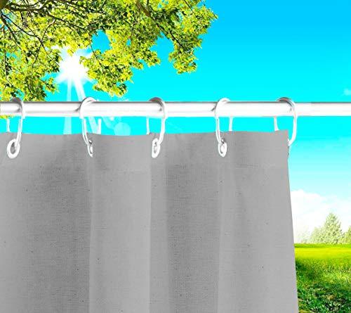 Byour3® Toldos exteriores con ojales en la parte de Arriba y los ganchos de metal Tejido antimoho repelente al agua Toldo de tela de algodón resinado para terrazas Gazebos Balcon (Grafito, 190xH280cm)