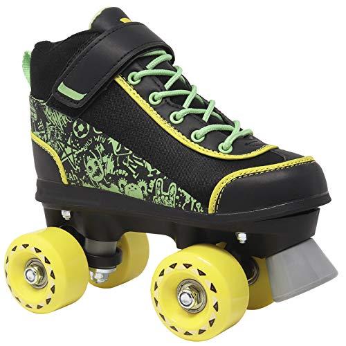 Lenexa Doodle Roller Skates for Boys and Girls - Kids Quad Roller Skate - Pink/White - Black/Green - Great Indoor and Outdoor Roller Skates Made for Kids and Beginners (Black/Green, Big Kids 4)
