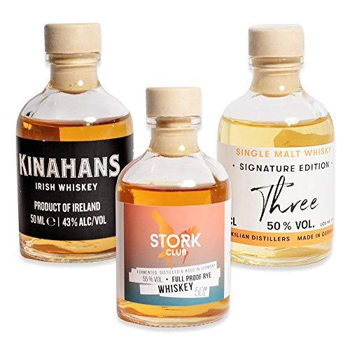 Foodist Whisky Tasting Miniatur-Flaschen zum Probieren | St. Kilians | Kinahans | STORK Club | Geschenk-Set mit Hintergrundwissen für Whisky-Liebhaber (3 x 50ml)
