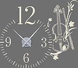 GRAZDesign 800452_SI_816 Wandtattoo Uhr mit Uhrwerk Wanduhr Wohnzimmer Musik Geige Blumen Zahlen (65x57cm//816 Antique White//Uhrwerk silber)