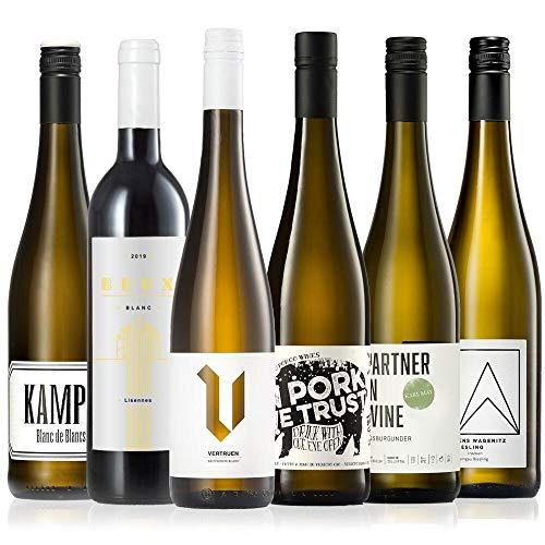 GEILE WEINE Weinpaket Weißwein (6 x 0,75) Probierpaket mit Weisswein von Winzern aus Deutschland, Frankreich und Italien