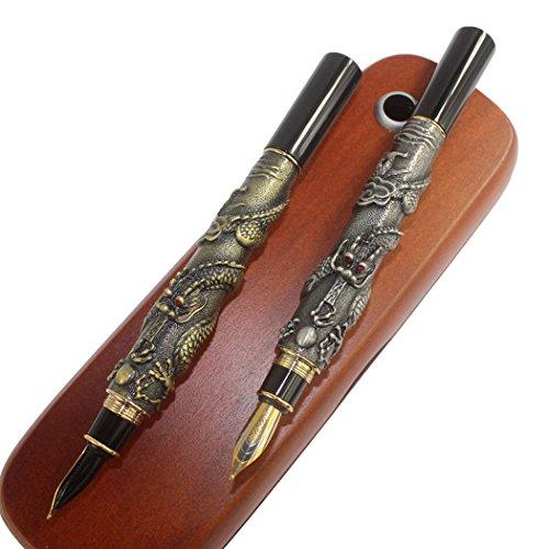 Gullor Luxury Fountain Pen Jinhao Chinese Dragon / Loong Bronze Basso-relievo Medium Nib + 2 sticks Brown Wooden pen box