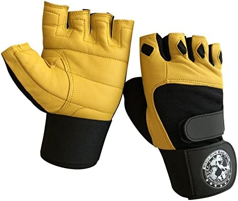 Nibra Gym Wear USA Gym Gloves Beige Black with 12 inch Wrist Support for Man Women Padded Workout product image