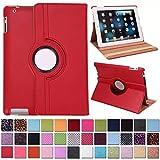 DETUOSI 360°Rotation Housse en Cuir pour Apple iPad 2/iPad 3/iPad 4 Coque Housse de...