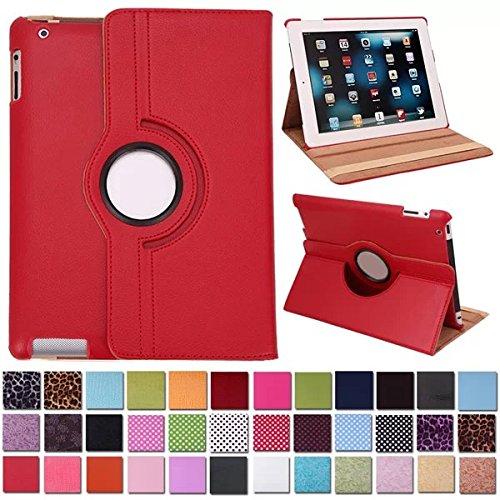 Beebiz Rotazione a 360°, in Pelle, per Apple iPad 2/iPad 3/iPad 4, Custodia di Protezione-Custodia Smart con Supporto di Posizionamento Rosso