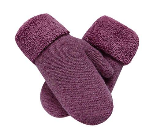 Blancho Warm Fingerlose Handschuhe Woolen Fäustlinge Lovely Winter Handschuhe für Mädchen, Light Purple