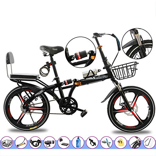 YSHCA Vouwfiets, 16 inch, koolstofstalen frame, fiets, vouwfiets met standaard bagagedrager, comfortabel zadel en spatborden
