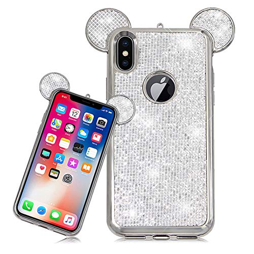 LCHDA Cover iPhone XR Topolino Orecchie e Brillantini 3D Cartoon Mouse Laccio in Silicone Custodia Glitter Strass Diamanti Rigida Copertina per Apple iPhone XR-Argento