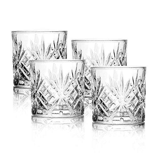 Set of 4 Whiskey Tumblers | Vintage Whiskey Tumblers | High-Quality Drinking Glasses | Glass Gift Set | Brandy, Scotch Gin Glasses | M&W