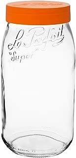 Le Parfait Screw Top Jar - 3L Wide Mouth French Glass Storage Jar w/Orange Plastic Lid, 96oz/3 Quarts (Single Jar)