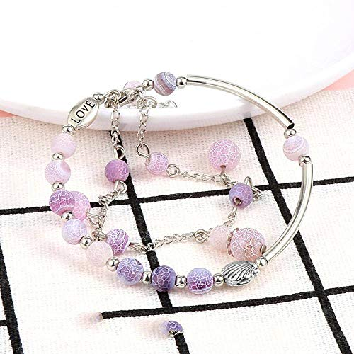 Stone Bracelet,Vintage Boho Unisex 7 Chakra Natural Beads Adjustable Bangle Purple Dragon Pattern Agate Stone With Double Layers Silver Shell Bracelets Birthday Party For Women Men Friend Gift