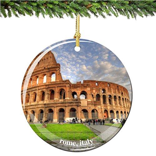 City-Souvenirs Rome Coliseum Italy Christmas Ornament, Porcelain 2.75' Italian Christmas Ornaments