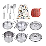 VIPAMZ My First Play Kitchen Toys Pretend Cooking Toy Cookware Playset for Kids 11-Pieces Stainless...