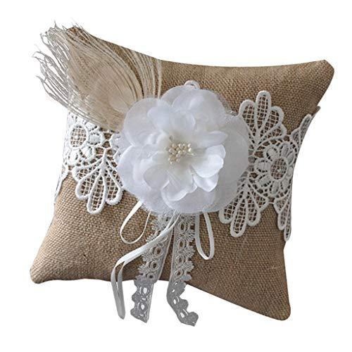 FLAMEER Cojín Almohada de Anillo de Lino con Flores Romántica Organizador para Alianzas de Diseño en Forma de Cuadrado Decoraciones de Bodas