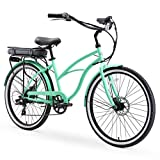 sixthreezero Around The Block Women's Electric Bicycle, 7-Speed Beach Cruiser eBike, 250 Watt Motor, 26' Wheels, Mint Green with Black Seat and Grips