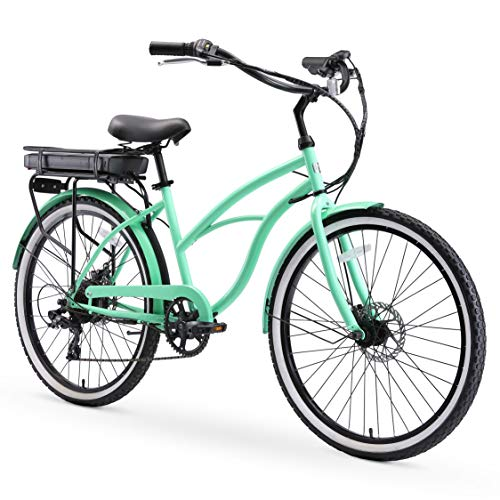 "sixthreezero Around The Block Women's Electric Bicycle, 7-Speed Beach Cruiser eBike, 250 Watt Motor, 26"" Wheels, Mint Green with Black Seat and Grips"