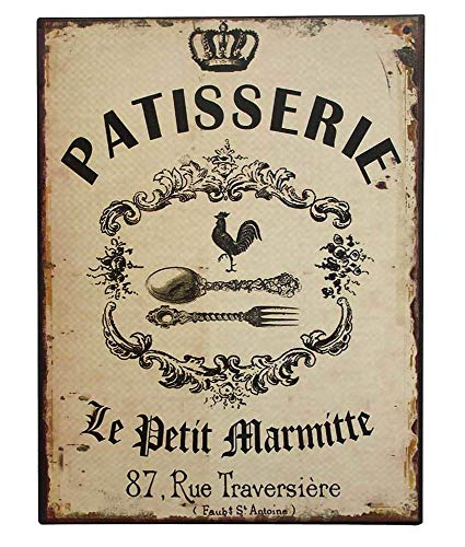 zeitzone Nostalgie Dekoschild Patisserie Blechschild Antik-Stil 33x25cm