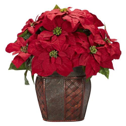 Nearly Natural 1264 Poinsettia with Decorative Vase Silk Flower Arrangement, Red