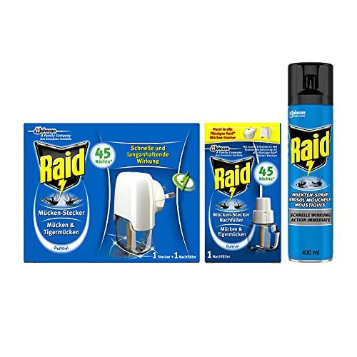 Raid Kombi-Pack (Insekten-Spray und Mücken-Stecker) gegen fliegende Insekten im Innenbereich, 3er Pack (1x400ml und 2x27ml)