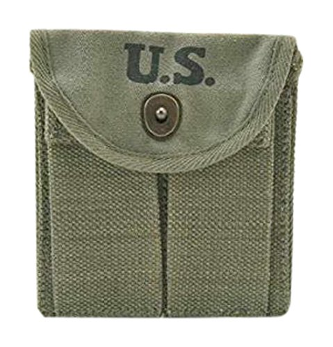 Ultimate Arms Gear M1 M-1 Carbine Rifle WWII U.S. Military Marked OD Olive Drab Green Canvas Magazine Ammo Ammunition Cartridge Rounds Pouch Fits Around Buttstock Stock or Pistol Waist Belt