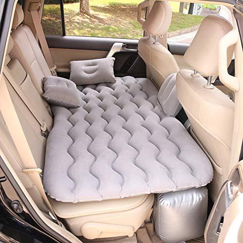 HEZHOUJI Car Air Inflatable Travel Mattress Bed Universal for Back Seat Multi Functional Sofa Pillow Outdoor Camping Mat,Grey