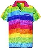 V.H.O. Funky Camicia Hawaiana, Rainbow Horizontal, Multicolore, M
