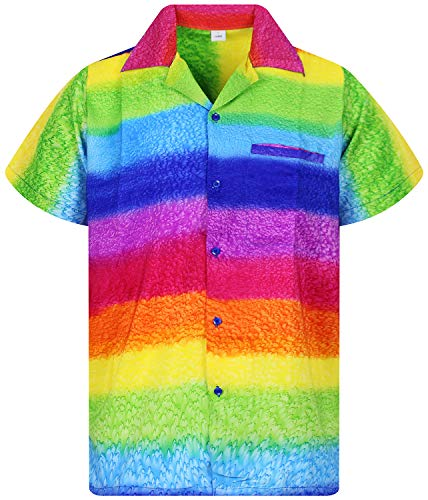 V.H.O. Funky Chemise Hawaienne, Rainbow Horizontal, Multicolore, 5XL